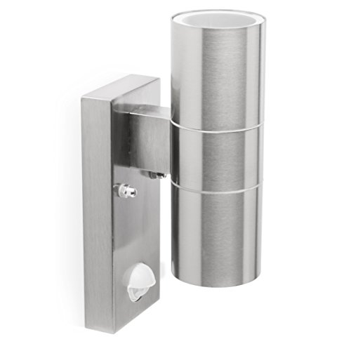 Smartwares 5000.257L A++ to E Wandleuchte Dimaro mit Bewegungsmelder, Aluminium, 20 W, GU10, Silber, 6, 5 x 11 x 23 cm