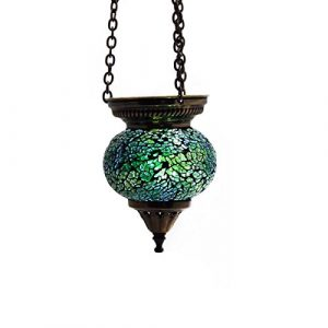 Mosaik Lampe Hängelampe Windlicht Pendelleuchte Aussenleuchte Deckenleuchte aus Glas grün Teelichthalter Orientalisch Handarbeit dekoration – Gall&Zick Laterne