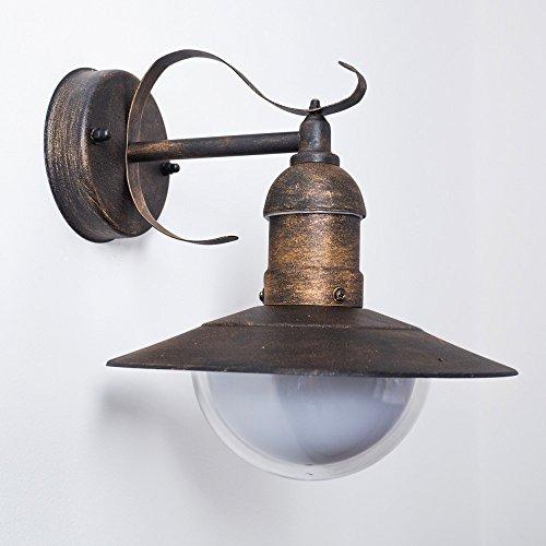 Aussenwandlampe Broni im Vintage-Design – Wandleuchte ist rustikaler Optik mit mattiertem Lampenschirm – Wandstrahler LED geeignet
