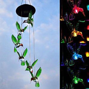 HOMYY Solar Windspiel Mobile Kolibri Hängeleuchte LED Farbwechsel Yard Decor Lampe Vent Solaire ändert für Outdoor für den Gartenbau Beleuchtung