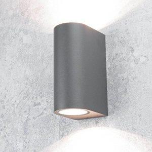 Wandleuchte außen/rund/anthrazit/Up & Down Strahler/IP44/2x GU10 bis 35W/Wandlampe für Hauswand Hof Garten Beleuchtung