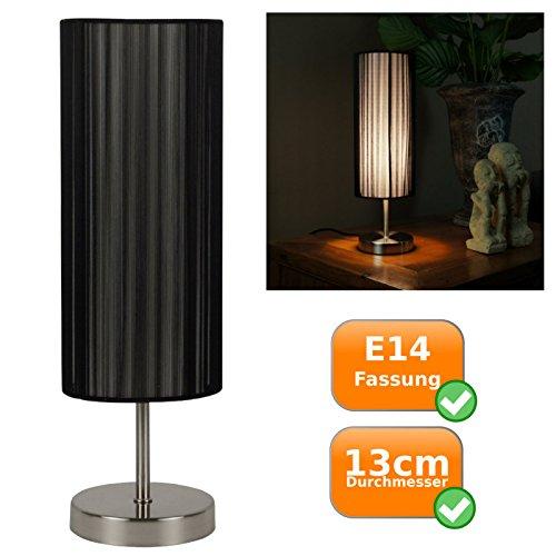 Tischlampe, modernes Design, schwarzer Textillampenschirm, E14 Fassung(Leuchtmittel nicht enthalten)