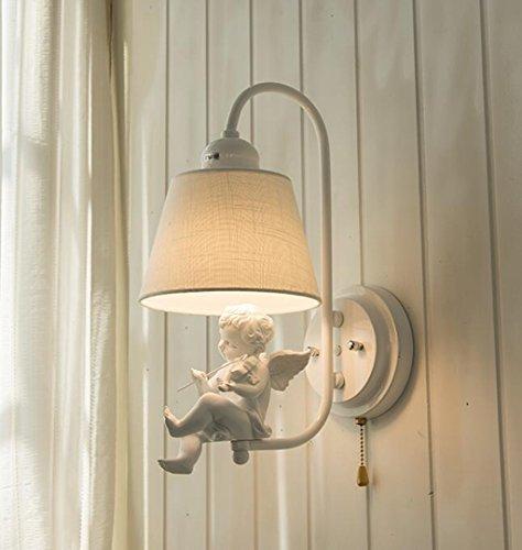 Nachttischlampen, Gang, Beleuchtung, Schlafzimmer Wand Leuchten, Wandleuchten, Kreative Wandleuchten,Weiß Lampenschirm (Vogel, Violine random Haar),(Lampe Sockel: 15 * 15 CM, Schirm: 18 * 27 cm, Gesamthöhe 42 cm),A++