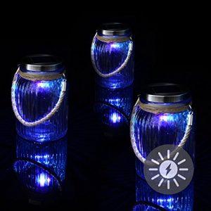 Nexos Solarglas 3er Set mit je 1 LED Solar Farbwechsel mit Aufhänger Glas Gartenbeleuchtung Ø 11cm, Höhe 15,5 cm Party Garten Licht für Außen mit Solarpanel Sonnen Engerie Beleuchtung