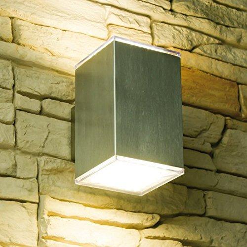 LED Wandleuchte CUBE 2, Außenleuchte, Außenlampe, Edelstahl, IP44, 230V, Warmweiß (2-Flammig warmweiß)