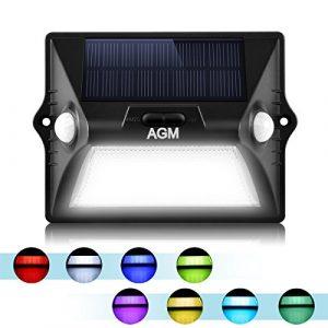 Solarleuchte mit Bewegungsmelder Außen mit 12 LED Solar Wandleuchte, 180° Weitwinkel Solar Betriebene Außenleuchte, AGM LED Solarlampe IP65 5050 RGBW Wasserdichte mit 3 Modi 8 Farben