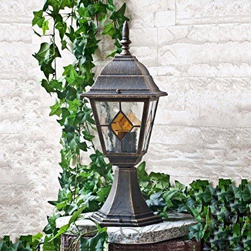 Rustikale Standleuchte in antikgold inkl. 1 x 12W E27 LED 230V Stehleuchte aus Aluminium & Glas Stehlampe für Garten/Terrasse Standlampe Garten Weg Terrasse Lampen Leuchte Beleuchtung außen