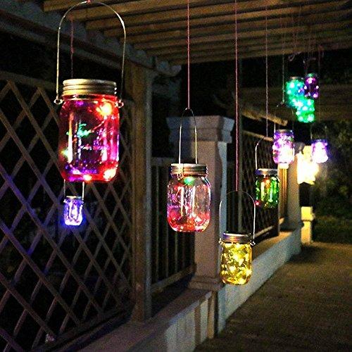 Solar Mason Glas Licht, Sonnen Mason Glas Deckel einlegen und helle Schnur, Mason Jar Glas LED Solar Licht sieben verschiedene Farben,Hängeleuchte solarleuchten garten Es kann ganzjährig im Freien benutzt werden (1 Pcs,Mehrfarbig)