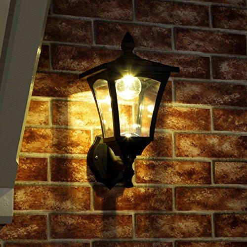 34cm klassische Außen Solar Wandleuchte, schwarz, LEDs in warmweiß von Festive Lights