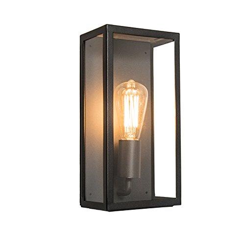 QAZQA Modern Außenleuchte/Wandleuchte fur Außen/Gartenlampe/Gartenleuchte Rotterdam 1 Wand schwarz/Außenbeleuchtung Glas/rostfreier Stahl/Rechteckig LED geeignet E27 Max. 1 x 60 Watt