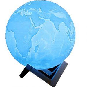 Erde Nachtlicht, AmaMary 3D USB Lade Hand Slap Control 7 Farbwechsel Nachtlicht mit magnetischen Stent Geschenk für Liebhaber (8 CM)