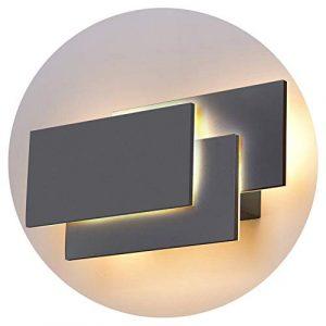 K-Bright LED Wandlampe,24W Upgrade Version Moderne IP20 Wandleuchte LED Innen,220V,Warmweiß Leuchten Dekorative Licht Nachtlampe Für Schlafzimmer, Wohnzimmer,Aluminium Material,Dunkelgrau Schale