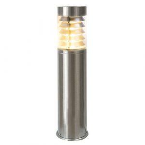 LED Standleuchte, 45cm, Pollerleuchte, Wegleuchte, Sockelleuchte, Gartenleuchte, Außenleuchte, Edelstahl, IP44, E27-230V (Form:S17) (Warmweiß)