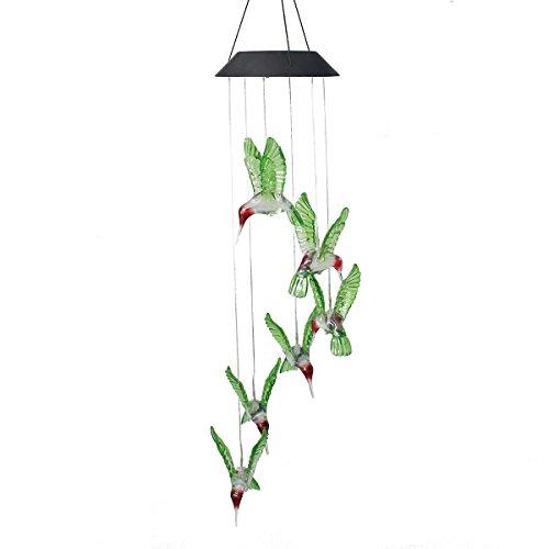 Solar Powered Wind Chimes,Suniness LED Solar Mobile Wind Glockenspiel, Color-Changing Wasserdichte LED Hängeleuchte Wind Glockenspiel für Outdoor Indoor Gartenarbeit Beleuchtung Dekoration Home (Kolibri)
