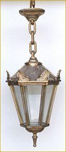 Graf von Gerlitzen Antik Style Alte Form Aluminium Hängelampe Lampe Garten Laterne Gold-Antik