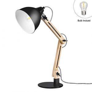 Viugreum LED Leselampe Schreibtischlampen mit schwenkbaren Holzarmen Tischlampe Studierlampe Arbeitslampe Bürolampe Nachttischlampe mit verstellbarem Arm