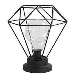 AntEuro Diamond Eisen Tischlampe, EONANT Eisen Lampe Nachtlicht Nordic Nachttischlampe mit Batteriebetriebenen Dekorative Beleuchtung für Schlafzimmer, Wohnzimmer, Bar, Hotel (Black)