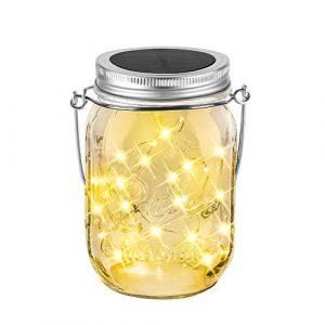Solar Mason Jar Licht 20Leds Garten Dekoration Laterne,Balkon Tischleuchte für Außen,Warmeweiße Glasgläser Hängeleuchte Wasserdichte für Verzierungs Garten Partei