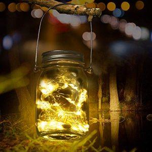 FYLINA Mason Solar Jar Licht -20Leds Glas Hängeleuchte Outdoor String Laterne Wasserdichte Glasgläser Garten Hängeleuchten,Jar Fee Licht(Warmweiß)