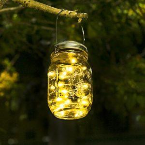 Solar Mason Jar Licht – Jar Fee Licht, Wasserdichte Glasgläser Garten Hängeleuchten, LED Weihnachtsbeleuchtung Lichterkette,LED String Licht für Party, Weihnachtsferien, Hochzeitsdekoration(Warmweiß)