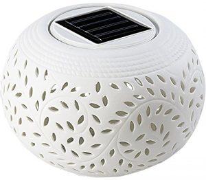Lunartec Solartischleuchte: Solar-Dekoleuchte aus Porzellan mit Farbwechsler/weißer LED (LED Tischlampen)