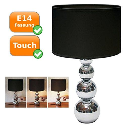 Touch-Lampe, modernes Design, schwarzer Lampenschirm, E14 Fassung(Leuchtmittel nicht enthalten)