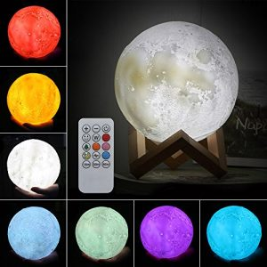 ele ELEOPTION Moon Lamp kreative 3D Print LED Moon Light Fernbedienung 7 Farben RGB mit Touch und Remote Warme und coole Schreibtischlampen für Kid Schlafzimmer Neuheit, Best Home Decorative Lights Romantisches Geschenk (20cm (7.9 Inch))
