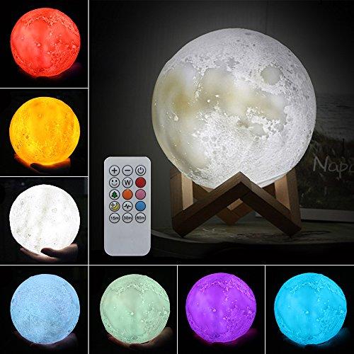 ele ELEOPTION Moon Lamp kreative 3D Print LED Moon Light Fernbedienung 7 Farben RGB mit Touch und Remote Warme und coole Schreibtischlampen für Kid Schlafzimmer Neuheit, Best Home Decorative Lights Romantisches Geschenk (20cm (7.9 Inch))