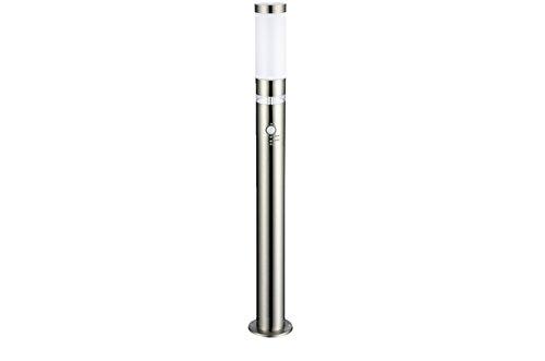 Edelstahl LED Außen-Leuchte Stehleuchte Lisa Höhe 1m Hauptlicht mit Bewegungsmelder und LED Ring als Grundlicht mit Dämmerungssensor, Außen-Lampe Wegeleuchte