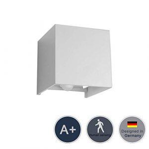 Klighten 12W Cube Moderne Wandleuchte Wandlampe, Bewegungsmelder Einstellbar Abstrahlwinkel Wandbeleuchtung,Wasserdichte IP 65 Außenwandleuchte, Naturweiß ,Weiß