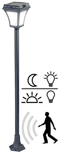 Lunartec Standleuchte: Solar-LED-Wegeleuchte mit Bewegungssensor, Aluminum, 0,5-W-Solarpanel (Solarlaterne mit Dämmerungssensor)