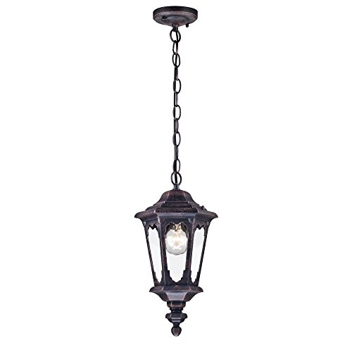 Antike vintage Pendelleuchte außen Laterne, schwarzes Alu, klares Glas, rustikal und klassisch für Beischlag, Terrasse exkl.1 E27 60W IP44