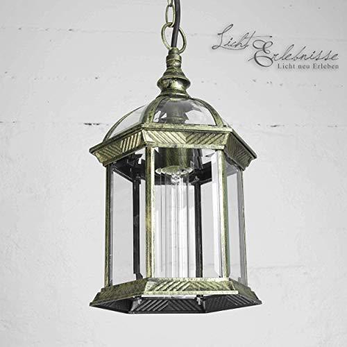 Rustikale Hängeleuchte Außenleuchte Antik Gold Glas Aludruckguss mit Kettenpendel E27 230V Außenlampe Pendellampe Pendelleuchte Hängelampe Decke Hof Garten Beleuchtung