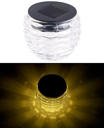 Lunartec Solar-LED-Teelicht: Solar-LED-Windlicht Liora, mit tollem Lichtmuster, Glas, IP44, Ø 8 cm (LED Solar-Tischlampen)