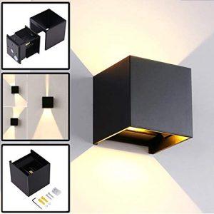 12W Wandleuchte Innen / Außen Modern, Led Außenleuchten IP65 LED Wandbeleuchtung Up- und Downlight, Mit Einstellbar Abstrahlwinkel Design, 3000K Warmweiß Schwarz
