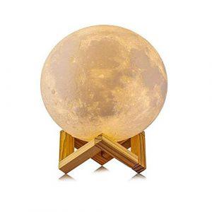 3D Mond Lampe, Love shang Lv Nachtlicht Nachttischlampe 15cm mit Touch Sensor,Drei Farben optional USB Wiederaufladbar Nachtlicht (Tricolor Berühren Sie)