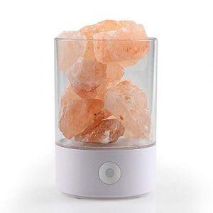 LULUKEKE Himalaya Kristall-Salz Lampe 100% Pure Himalaya Pink Crystal Salt Lampe, USB Bunte Salzlampe, Natürliches Negativ-Ion Einfache Gesundheit Gesundheit Geschenktippe Lampe,White