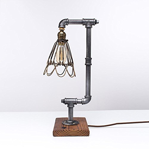 AOKARLIA Industrielle Tischlampe Beleuchtung, Steampunk Schmiedeeisen Metall Schreibtischlampe, Retro E27 Akzentlampen Zum Nachttisch Schlafzimmer Bar Cafe