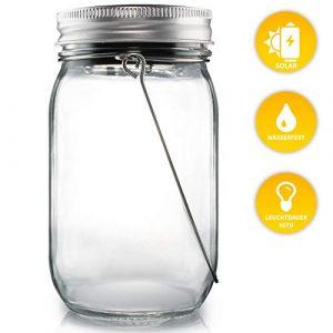 Lacari ® Original Solarglas – Auch Als Gartenleuchte Hängeleuchte – Wasserdichte Solarlampe – Hochwertige Solarleuchte Im Einmachglas – Gemütliches Sonnenlicht – Mason Jar mit Langer Leuchtdauer