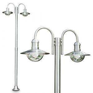 Moderner Kandelaber mit 2 Köpfen aus Edelstahl – Außenlampe Stehlampe mit E27-Fassungen – Wegeleuchte -Sockelleuchte für den Garten Terasse oder Einfahrt