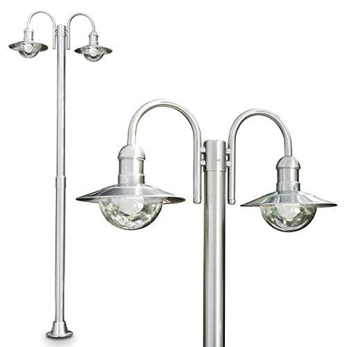 Moderner Kandelaber mit 2 Köpfen aus Edelstahl - Außenlampe Stehlampe mit E27-Fassungen - Wegeleuchte -Sockelleuchte für den Garten Terasse oder Einfahrt