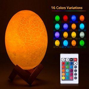 Umiwe Dinosaurier Eier Lampe, Nahtlose 3D-Druck Dinosaurier Eierschale Tischlampe Nachttischlampe – USB wiederaufladbare Fernbedienung & Touch-Steuerung 16 Farben RGB Nachtlicht für Kinder – 5.9 Zoll