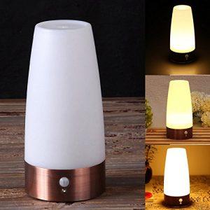 ZREAL LED Tischlampe mit PIR-Bewegungsmelder batteriebetriebene Bewegungsmelder Tischleuchte Nachtlicht