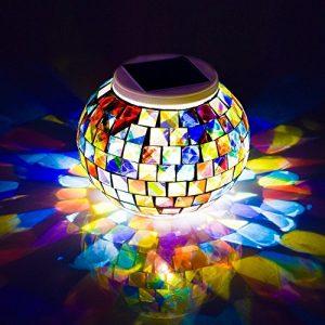 Mosaik Glas Ball Garten solarlampen Lichter schreibtischlampe, Avril Tian Farbwechsel Solar Night Lights, wasserdicht wiederaufladbarer Solar Tisch Lichter Lampe für Innen-Dekorationen