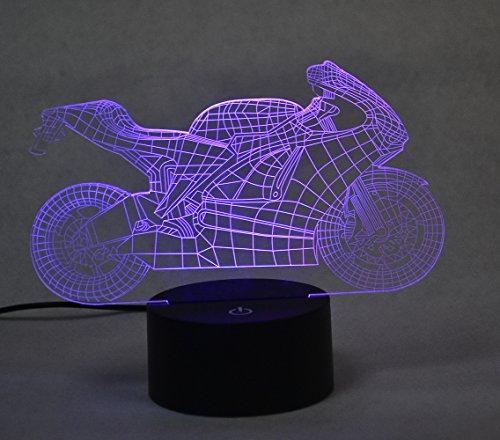 3D optische Illusion Lampe Touch LED Schreibtisch Lampe 7 Farbe wechselnden USB-Ladegerät Touch Schalter Dekoration Lampe für Geschenk(Motorrad)