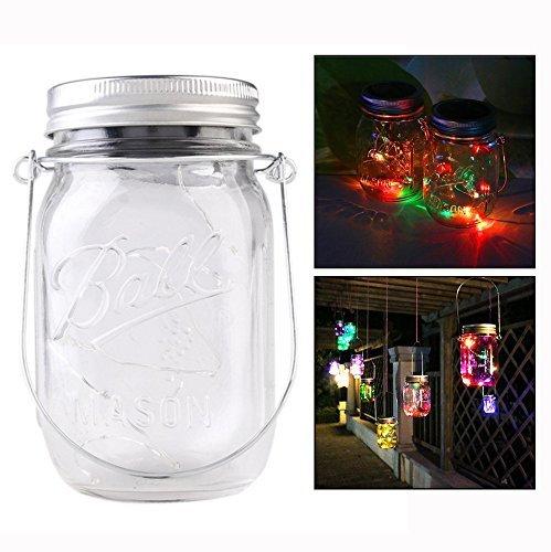 Itian Mason Jar Licht Solar LED Glas Hängeleuchte,Farbe Licht Solarlampe,Dekoration für Garten/Party/Veranstaltungen/Hochzeit