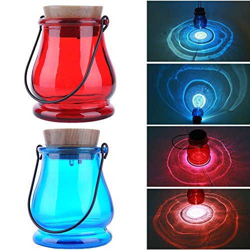 Solar Betriebene Glas Nachttischlampe Solarlampe LED Blau / Rote Laterne