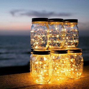 Solar Mason Jar Licht – ELINKUME 20 LED Solarleuchten Wasserdicht Garten Hängeleuchten Außen Lichterkette für Party, Weihnachtsferien, Hochzeitsdekoration (Warmweiß)