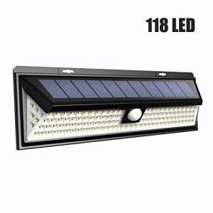 Solarleuchten für Außen, LTPAG 118 LED Solar Wandleuchte, Solarlampe mit 120 Grad-Weitwinkel bewegungs sensor, Energiesparende IP65 Wasserdichte 3 Modi Wandleuchte Sicherheitsbeleuchtung Gehwegen
