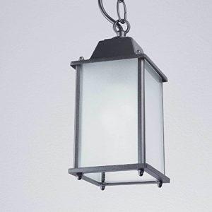 Rustikale Hängeleuchte in anthrazit inkl. 1x 12W E27 LED 230V Pendelleuchte aus Aluminium & Glas Hängelampe für Garten/Terrasse Garten Terrasse Lampe Leuchten außen